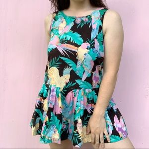 VTG 60s Novelty Parrot Bird Print Mini Dress S/M